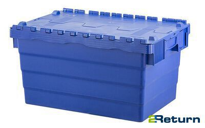 Nestable plastic box with hinged lid - 60 liters