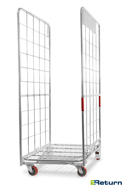 Retail roll container with A-frame construction